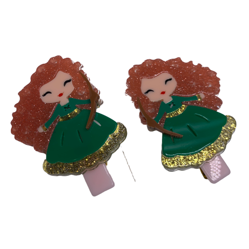 Acrylic Hair Clips - Princess Merida