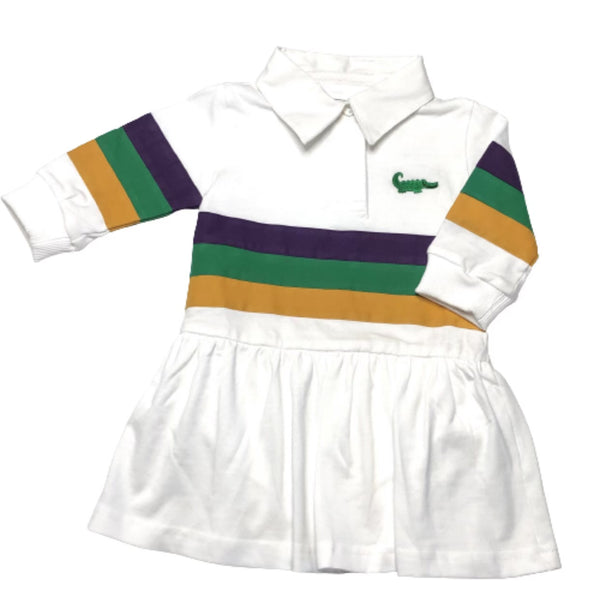 White Mardi Gras Rugby Drop Waist Dress