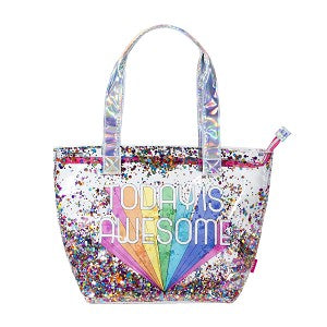 Today is Awesome Clear Confetti Beach Tote