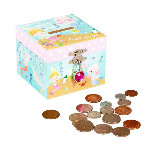 Floss & Rock Mermaid Money Box Bank w/ Diamond Lock