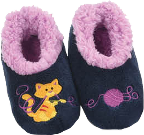 Snoozies Pairables Slippers - Cat/Yarn