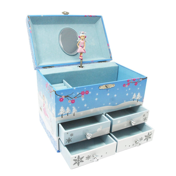 Snow Princess 4 Drawer Musical Jewelry Box