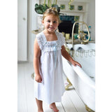 Powell Craft White Cotton Faye Night Gown with Ribbon Trim