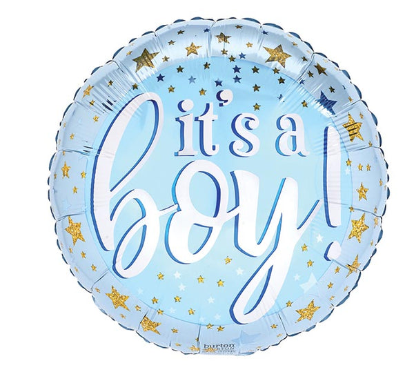 "It's a Boy Blue/Gold 17"" Balloon"