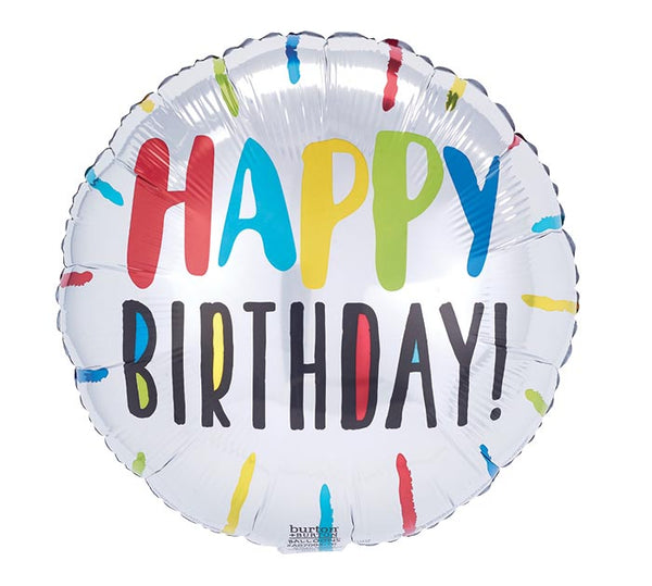 "Happy Birthday Colorful Stripes 17"" Balloon"