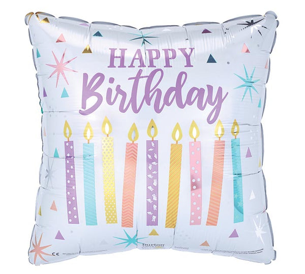 "Square Happy Birthday Pastel Candles 17"" Balloon"