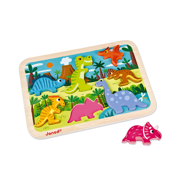 Janod Dinosaurs 3D Chunky Wooden Puzzle
