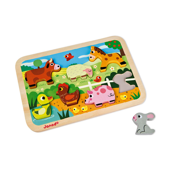 Janod Farm Animals 3D Chunky Wooden Puzzle