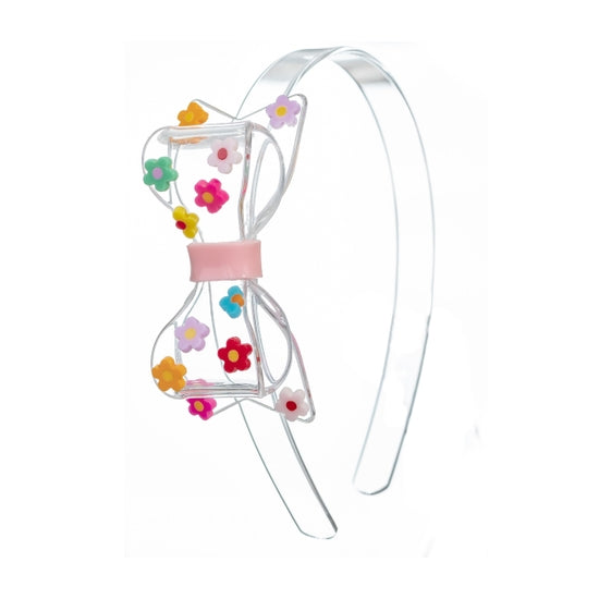 Acrylic Headband - Clear Fat Bow with Multi Daisies