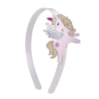 Acrylic Headband - Flying Unicorn (Gold Glitter)