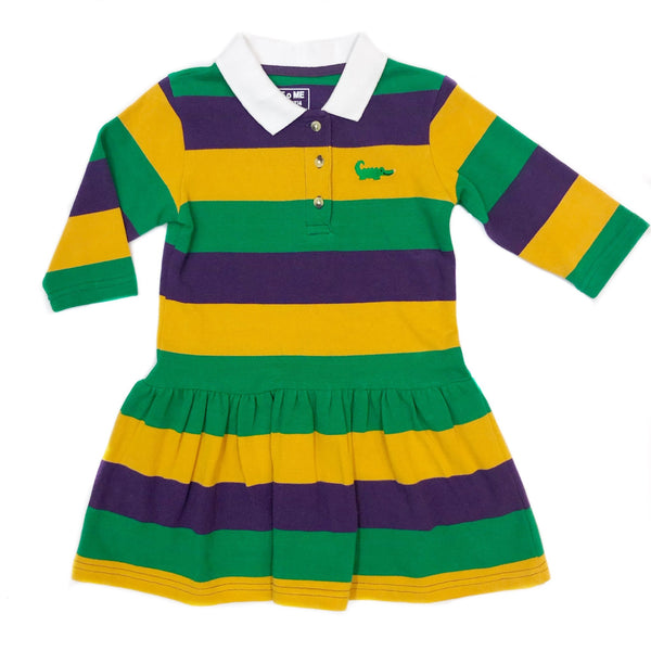 Striped Mardi Gras Rugby Drop Waist Dress w/ White Collar