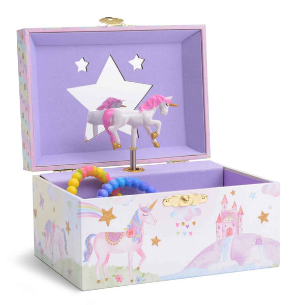 Rainbow Glitter Unicorn Musical Jewelry Box