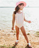 Rainbow Stripe Waterfall One Piece Swimsuit