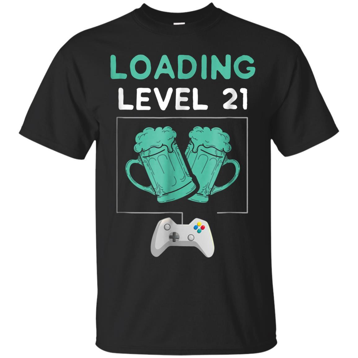 14475a203 21st Birthday Gamer Tee Shirt Loading Level 21 Years Old Tee-tshirt ...
