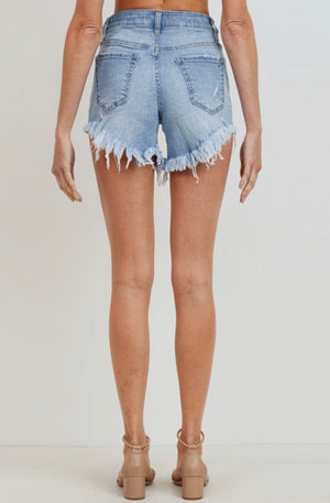 Times Movin Frayed High Waisted Shorts
