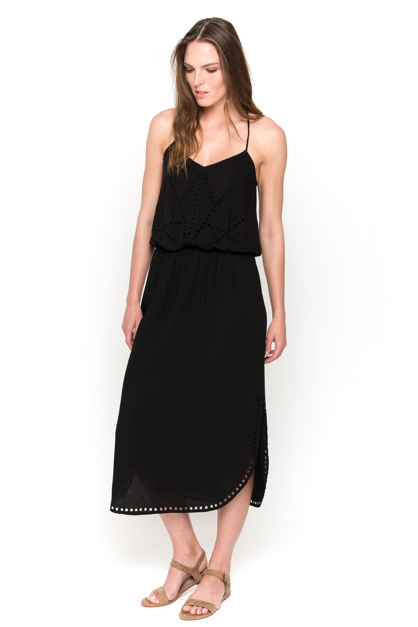 black lisa midi dress front