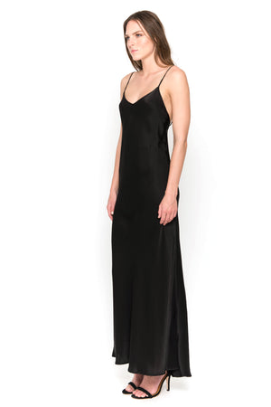 Black silk satin camisole maxi dress