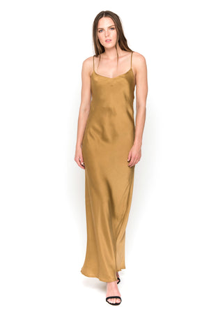 Mossy Gold silk satin camisole maxi dress