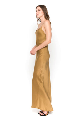 gold maxi camisole dress side