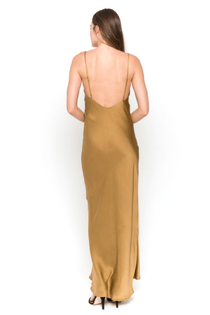 gold maxi camisole dress back