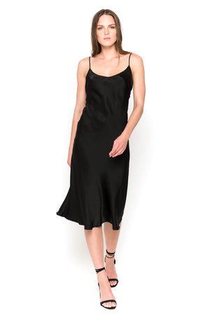 Black silk satin camisole midi dress