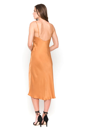 Cayenne silk satin camisole midi dress