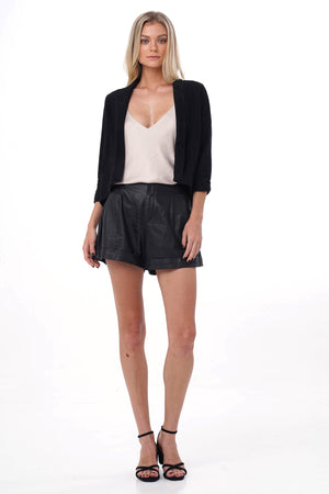 black brescia leather suede jacket front