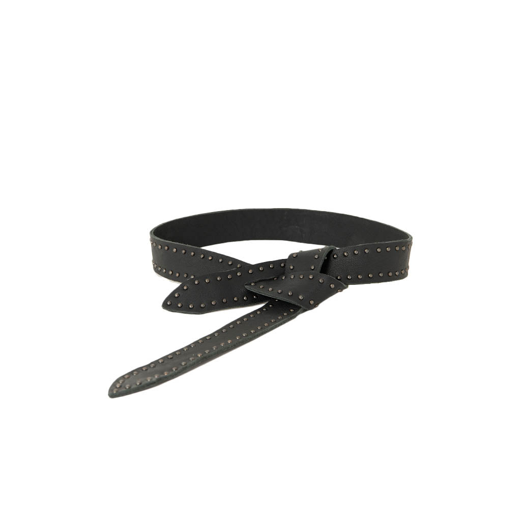 Black leather belt with metal studs