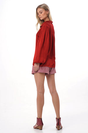 Red rayon satin long puffed sleeve shirts with pleats on the shoulder