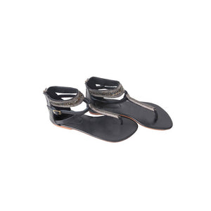 Black leather sandals with hand beading