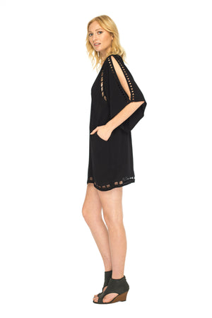 Black short 3/4 sleeve dress with handmade embroidery details and deep v neck line