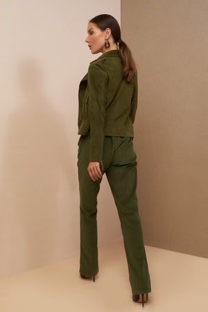 astra jacket army green suede leather
