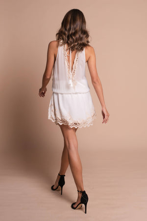 clara mini dress white back