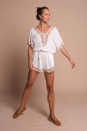 white clara playsuit white