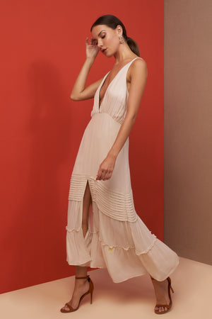 lauren midi dress champagne side