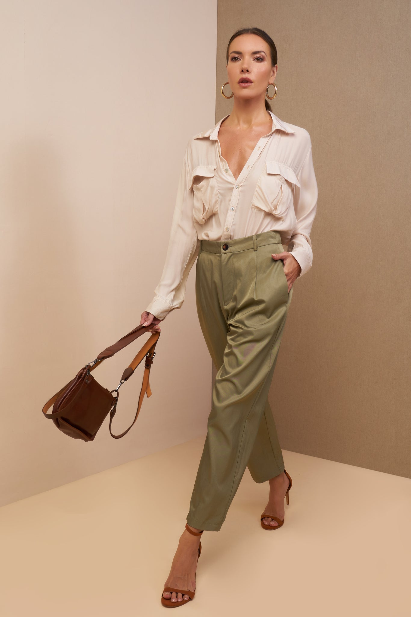 lauren pants olive silk