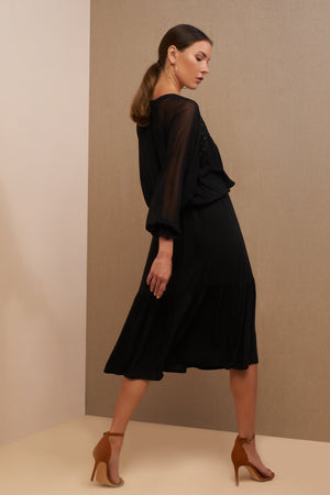 luana midi dress black side