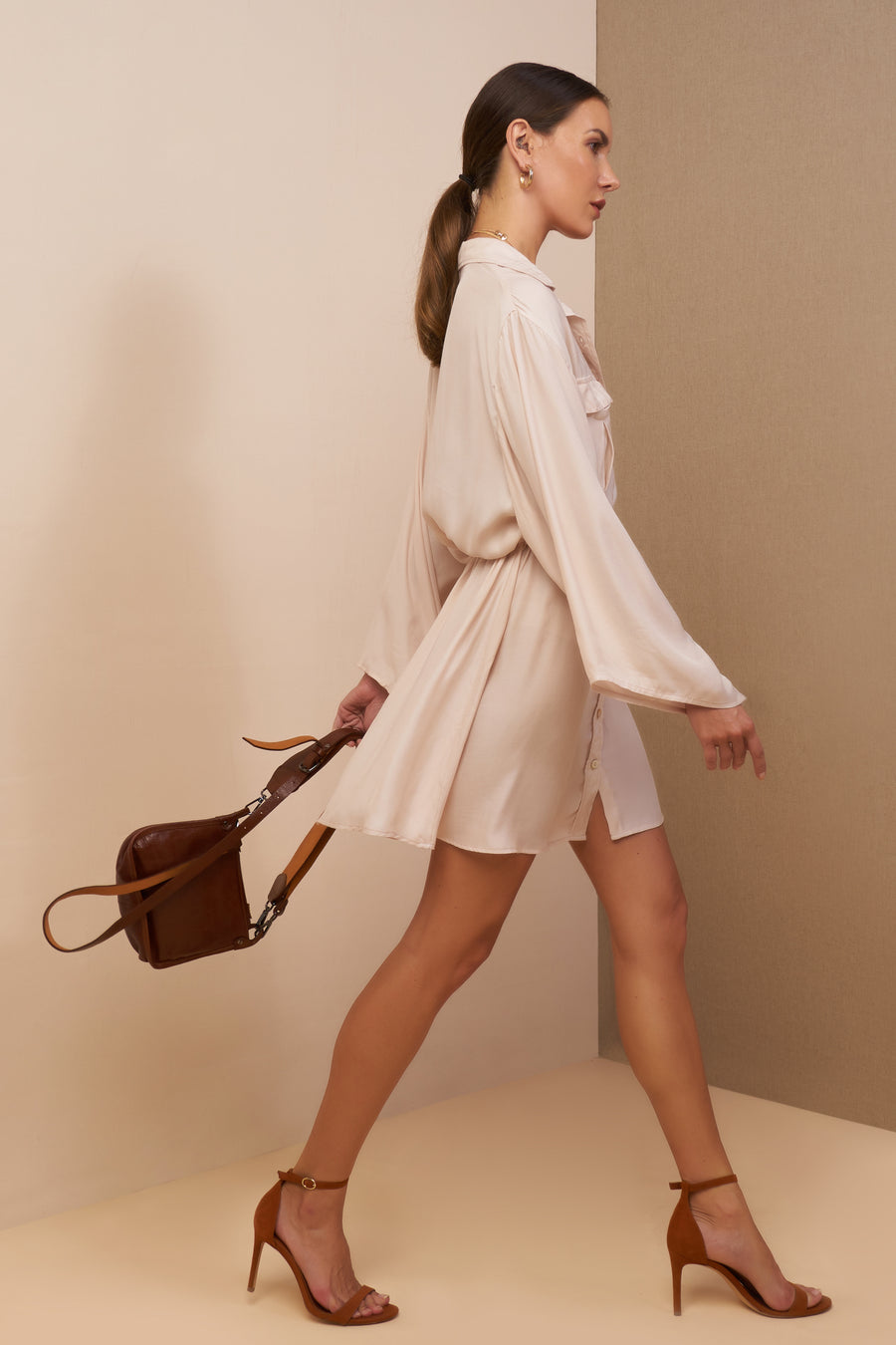 taylor shirt dress champagne