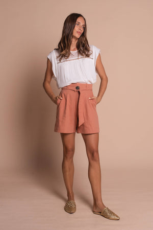 burnt orange taylor shorts front