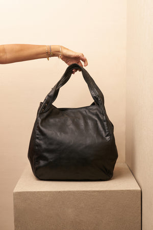 annie bag black leather