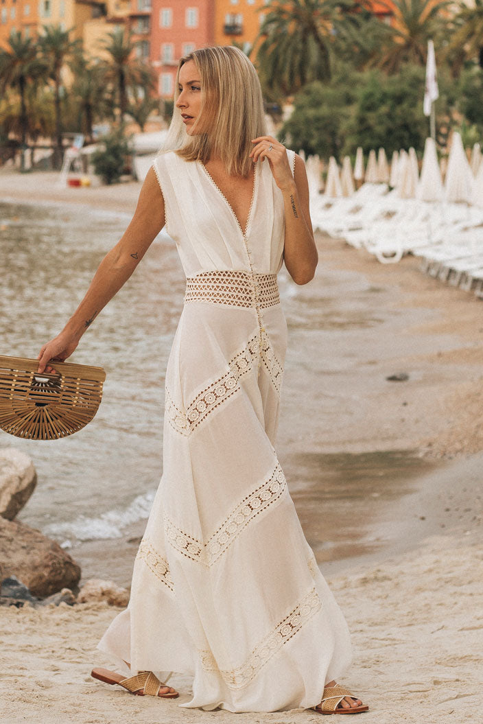 riviera maxi dress white campaign