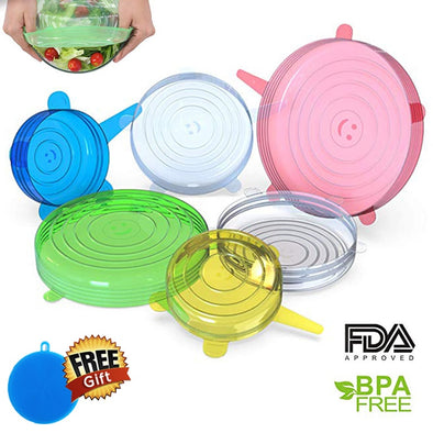 6 Pcs/Set Reusable Silicone Lids Food grade tapas de silicona para alimentos Spill Lids For Food Pot Dish Kitchen Accessories