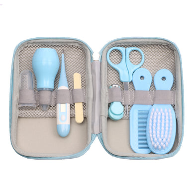 8Pcs Kids Health care Set Baby Grooming Kit Manicure Nail Clippers Comb Emery Thermometer Hairbrush Newborn Care with Cover