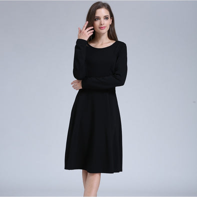 Solid Long Sleeve Maternity Dress