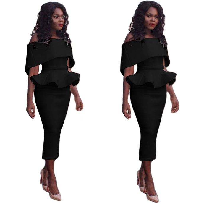 Women Off Shoulder Batwing Cape Midi Dress