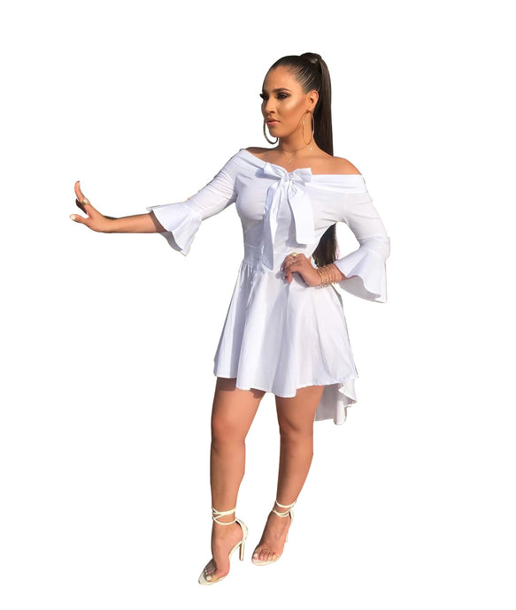 Women Sexy Casual Off Shoulder Bow Dress