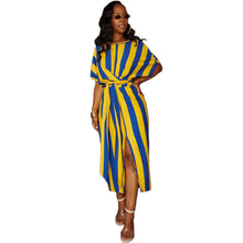 Load image into Gallery viewer, Women Long Loose Maxi Dress Striped Sheer Dress Bat-Wing Sleeve