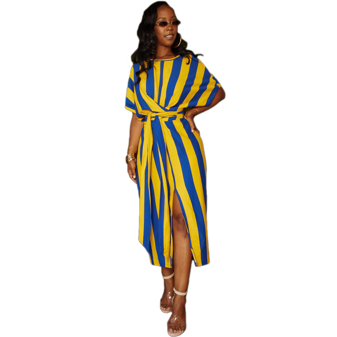 Women Long Loose Maxi Dress Striped Sheer Dress Bat-Wing Sleeve