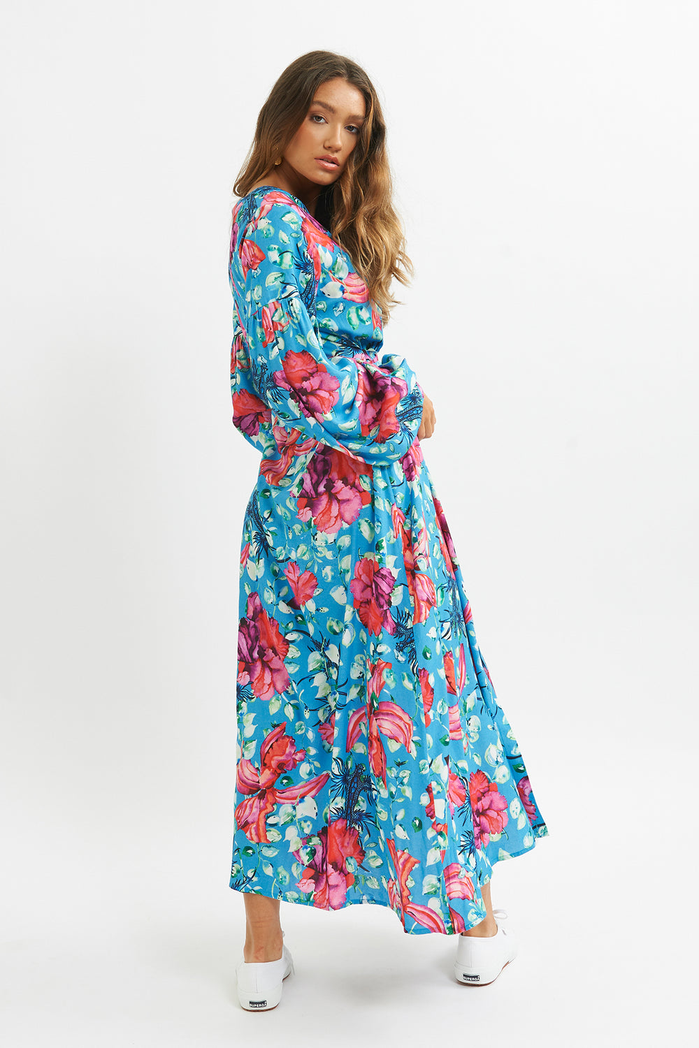 Blue Dragon Puff Sleeve Dress - shopsigal