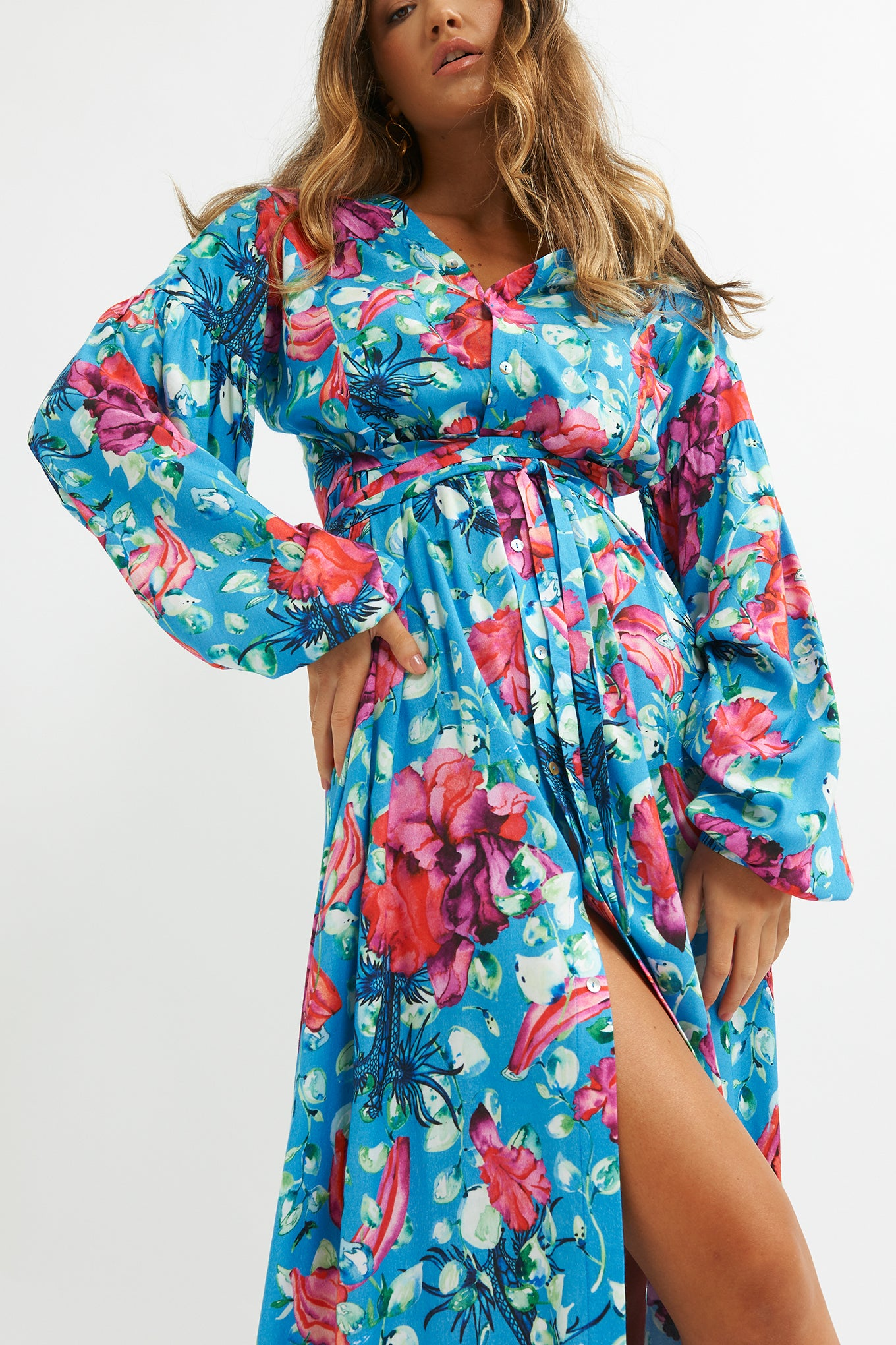 Blue Dragon Puff Sleeve Dress